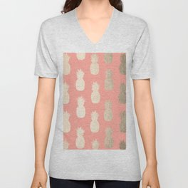 Gold Pineapples on Coral Pink Unisex V-Neck