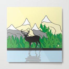 Mountain Deer #society6 #decor #buyart #artprint Metal Print