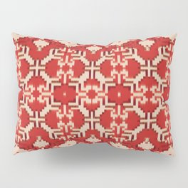 ikat geo mix patched in brigh red Pillow Sham