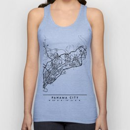 PANAMA CITY PANAMA BLACK CITY STREET MAP ART Unisex Tank Top