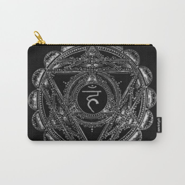 Black and White Throat Chakra Carry-All Pouch