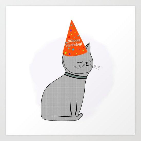 Birthday Cat Art Print