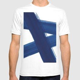 Indigo Abstract Brush Strokes | No. 4 T-shirt