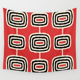 Mid Century Modern Atomic Rings Pattern 222 Black Beige and Red Wall Tapestry