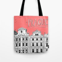 prague Tote Bags featuring Prague by jeune-jaune