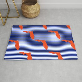 Florida university gators orange and blue college sports football stripes pattern Rug