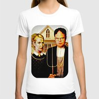 dwight schrute T-shirts featuring Dwight Schrute & Angela Martin (The Office: American Gothic) by Silvio Ledbetter