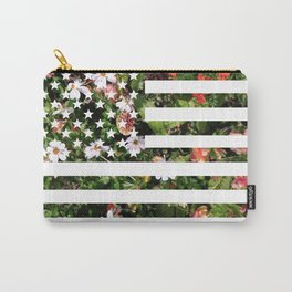 Floral USA Flag Carry-All Pouch