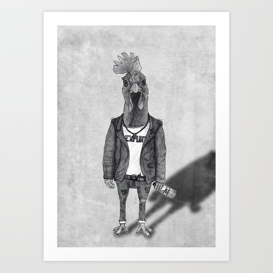 Punk Chiken.  (black & white) Art Print