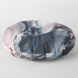Blush, Navy and Gray Abstract Calm Clouds Floor Pillow