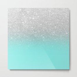Modern girly faux silver glitter ombre teal ocean color bock Metal Print