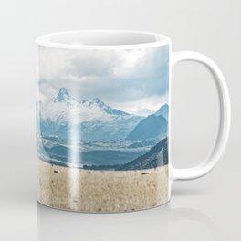 Perspective snowy mountain contrast landscape Coffee Mug