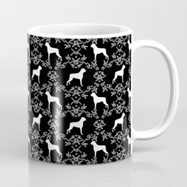 Boxer florals silhouette black and white floral pattern dog portrait dog breeds boxers Coffee Mug