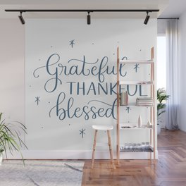 Grateful Thankful Blessed Wall Mural