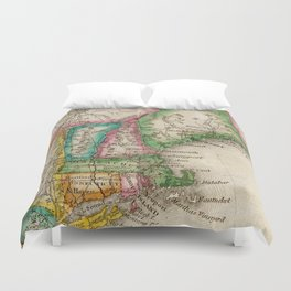 Vintage Map of New England (1822) Duvet Cover
