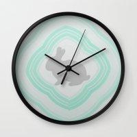 postcard Wall Clocks featuring  Postcard #1 by Bunhugger Design