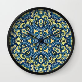 Blue Yellow original Art Wall Clock
