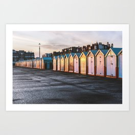 Colored beach huts at Brighton, East Sussex, Englan Art Print