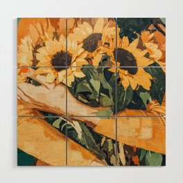 Holding Sunflowers #society6 #illustration #nature #painting Wood Wall Art
