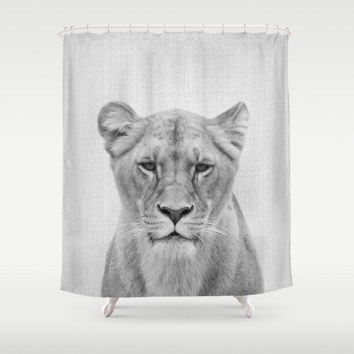 Lioness - Black & White Shower Curtain