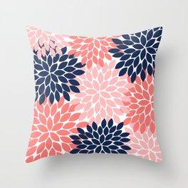 Navy Coral Pink Flower Pattern, Floral Pattern, Flower Petals, Flower Burst Throw Pillow