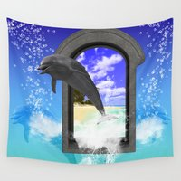 dolphin Wall Tapestries featuring Dolphin   by nicky2342