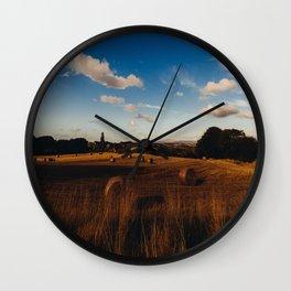 haystacks in autumn Wall Clock