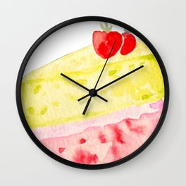 Lemon & Strawberry Cake Wall Clock