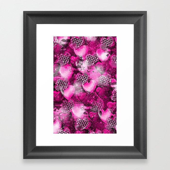 Light Bulb Hearts Series (pink) Framed Art Print