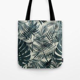 Dark Green Tropical Leaves Tote Bag