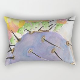 Watercolor Cute Purple Cactus With Flowers Rectangular Pillow