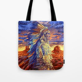 native american colorful portrait Tote Bag