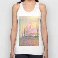 sailboat Tank Tops featuring Sailboat Flyby by 3crows