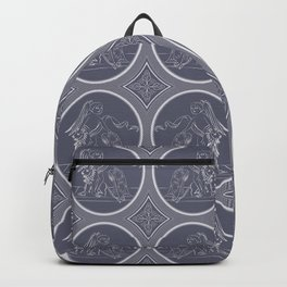 Grisaille Charcoal Blue Grey Neo-Classical Ovals Backpack