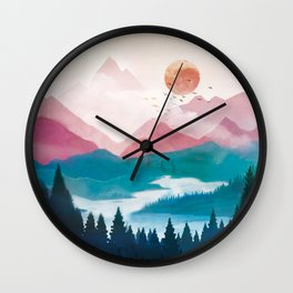 Wilderness Becomes Alive at Night II Wall Clock
