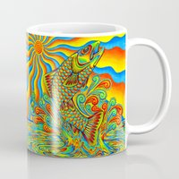 trout Mugs featuring Psychedelic Rainbow Trout by Rebecca Wang