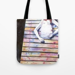 on the jetty, in the sun, her mind was elsewhere Tote Bag