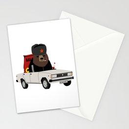 Smoking Gopnik slav bear wearing ushanka in the car on the road with semechki and vodka bottle Stationery Cards