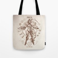 da vinci Tote Bags featuring Project M - Da Vinci Edition by Emilie Boisvert