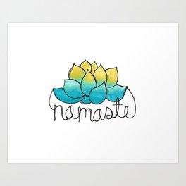 Namaste Lotus Flower Doodle  Art Print