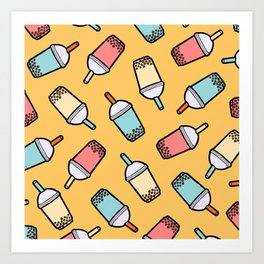 Bubble Tea Pattern Art Print