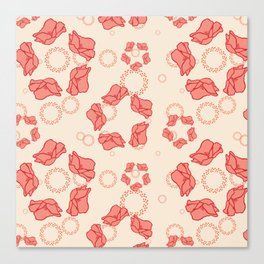 Poppy Pattern Collection - Cream Background & Pink Flowers Canvas Print