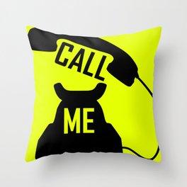 Cool Black Call me Vintage Retro telephone Throw Pillow
