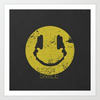 springsteen Art Prints featuring Music Smile by Sitchko Igor