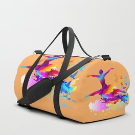 Colorful ballet dancer with flying birds Duffle Bag
