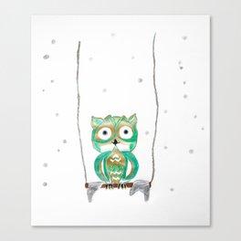 Owl Fun #1 #mint #green #gold #drawing #decor #art #society6 Canvas Print