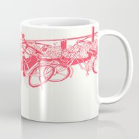 bicycles Mugs featuring On Paper: Tokyo Bicycles by Anton Marrast