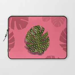 """Moss green leaf and pink flamenco polka dots"" Laptop Sleeve"