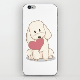 Toy Poodle Dog with Love Illustration iPhone Skin