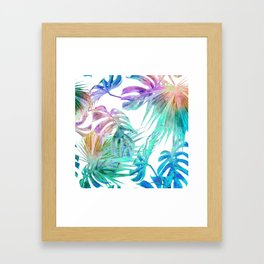 Simply Palm Leaves in Hologram Island Framed Art Print